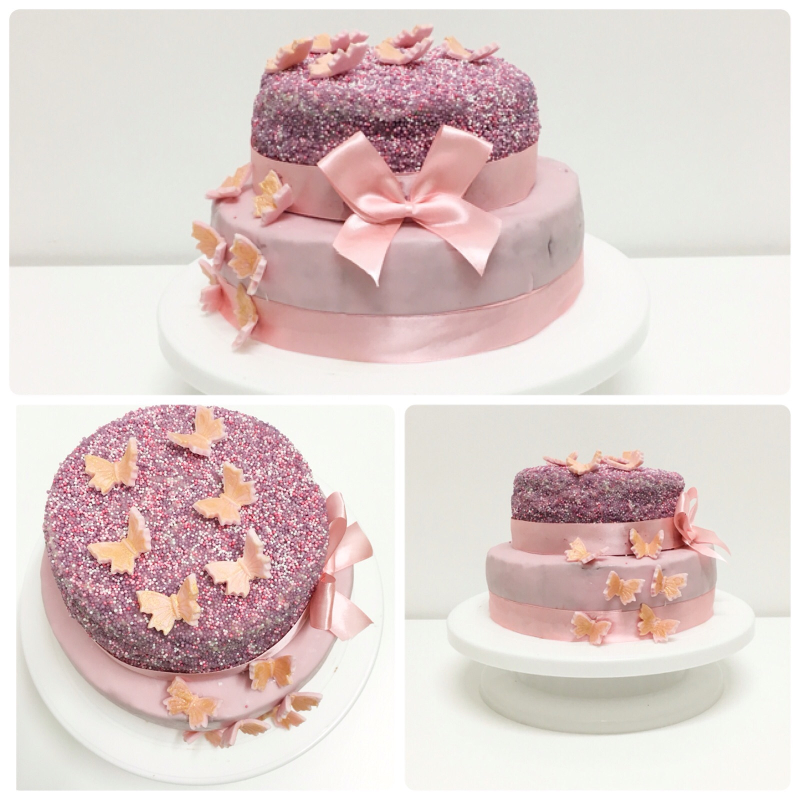 2 Stockige Fondant Torte In Lila Rose Love My Kitchen Leckere